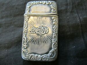 S38-ANTIQUE-STERLING-SILVER-MATCH-SAFE-WITH-STRIKER-WRITTEN-DESIGN-ILLEGIBLE