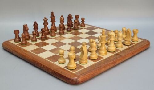 CHESS SET HANDMADE INLAID HEAVY SOLID SHEESHAM WOODEN BOARD GAME 14