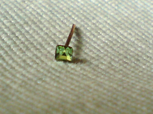 GOLD SQUARE NOSE STUD with 1mm.AUSTRIAN CRYSTALS 6 COLOURS £3.95 each NWT 9ct