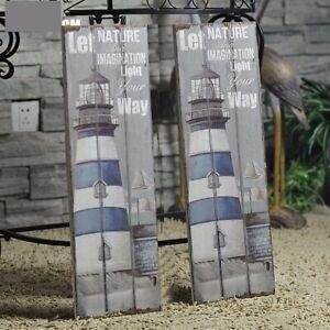 Wood-Sign-Nautical-Rustic-Plaque-Lighthouse-Designl-Art-Picture-Home-Decor
