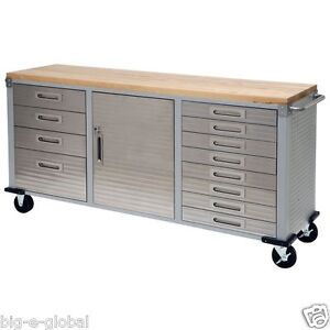 Surprising Details About Garage Rolling Metal Steel Tool Box Storage Cabinet Wooden Workbench 12 Drawers Interior Design Ideas Apansoteloinfo