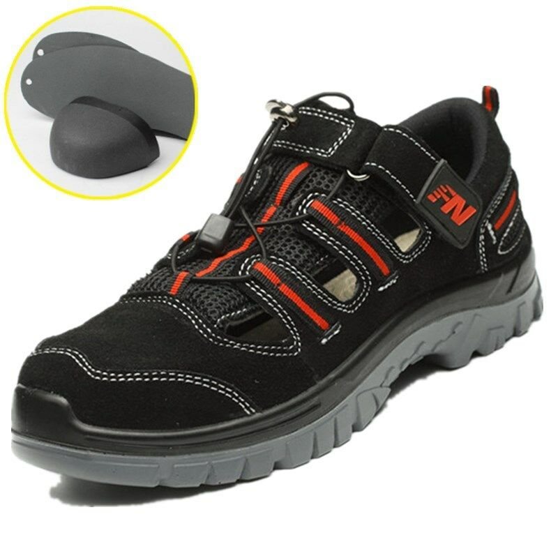 Safetoe Men's Safety shoes Steel Toe Cap Work Boots Fashionable Sandals Black UK