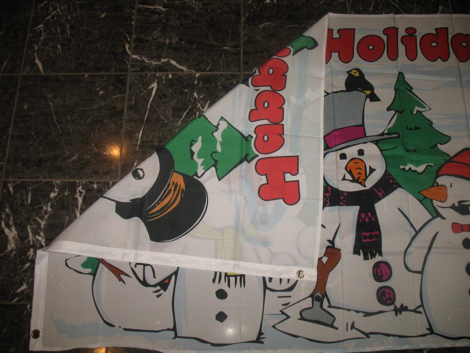 3x5 HAPPY HOLIDAYS Snowmen FLAG 3X5 FEET 3/'X5/' SNOWMAN WINTER  SNOW 3/'x5/' banner