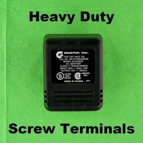 15 Volt AC 1 Amp Heavy Duty Power Adapter Step Down Wall Plug Transformer Screw