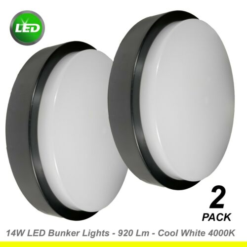 2 x 14W LED Black Round Bunker Wall Lights Diffused Outdoor Exterior Cool White