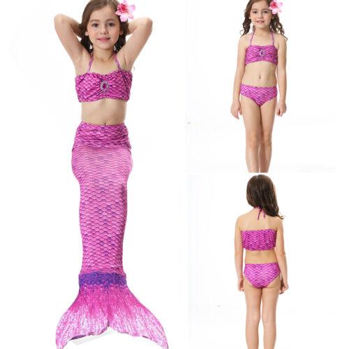 UK Girl Kids Swimmable Mermaid Tail Monofin Bikini Sets Swimsuit Fancy Costume