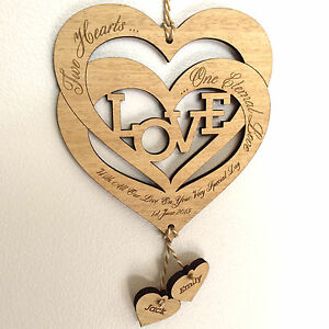 Personalised-Wedding-Day-Gift-Love-Hearts-Keepsake-Plaque-Anniversary-Engagement