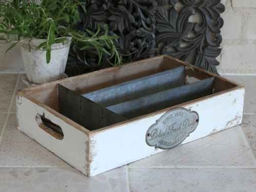 Chic Antique Besteckkasten Holz Vintage Shabby antikweiß Besteck Landhaus