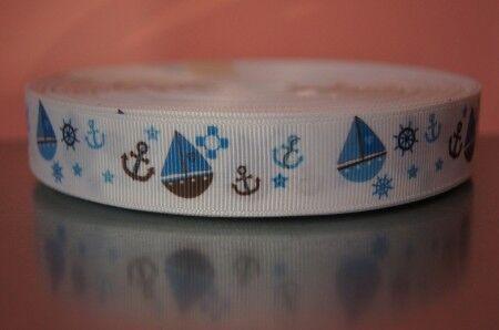 2529 Blaue Schiffchen auf Weiß 22mm Breite Ripsband Webband Borte