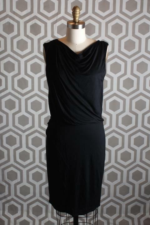NWT Helmut Lang Ruched Crotver Jersey Dress schwarz Medium M