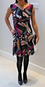 Diane-von-Furstenberg-DVF-silk-black-pink-and-grey-geometric-short-dress-8US10UK