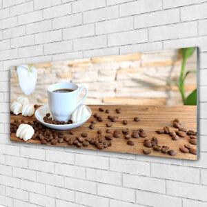 Glasbilder Wandbild Druck auf Glas 125x50 Tasse Kaffee Kaffeebohnen ...