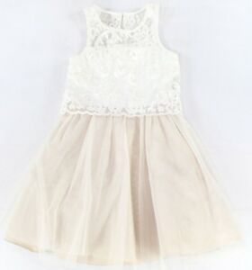 407d19025 Image is loading Rare-Editions-Girls-Ivory-Floral-Lace-Taupe-Dress-