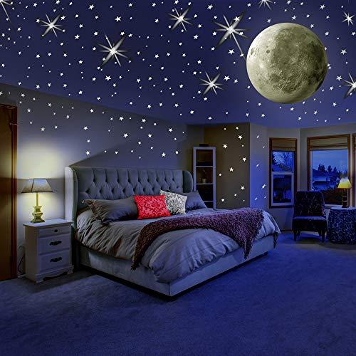 Glow In The Dark Wall Ceiling Decals Sticker Moon Stars Self Adhesive Luminous