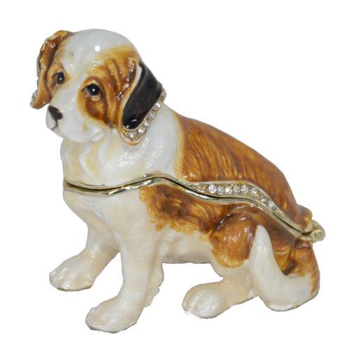 Saint Bernard Dog Jewelry Box Animal Tabletop Alloy Decorative Craft Ornament