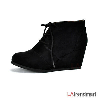 New Women Oxford Ankle Booties Lace up Wedge CityClassified Rex Black Faux Suede