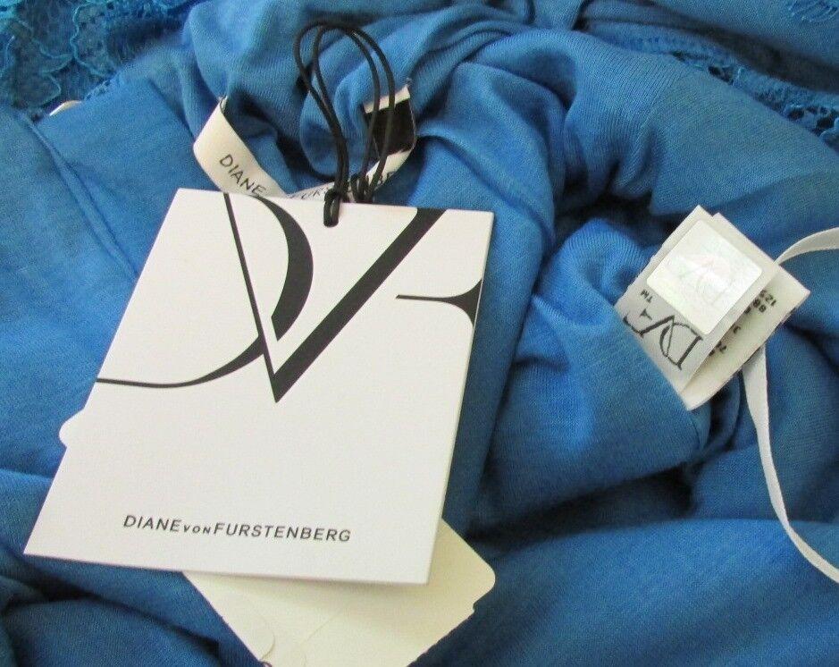 Diane von Furstenberg Zarita cornflower cornflower cornflower bluee dress lace zipper 10 sheer New f14f26