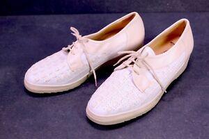 C1120-Fasan-Komfort-Schuhe-Schnuerpumps-Leder-kitt-beige-Gr-38-5H-Flechtleder