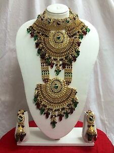 Indian-Designer-Bollywood-Wedding-Bridal-Crystal-And-Diamantes-8-PC-Jewelry-Set