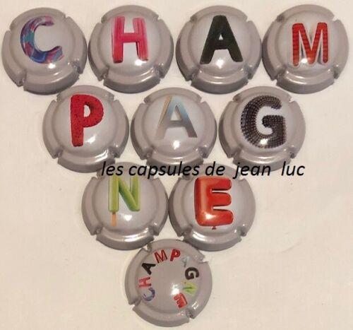 """GENERIQUE/""""Puzzle mars 2019/"""" SERIE DE 10 CAPSULES DE CHAMPAGNE"""
