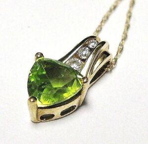 NEW-10k-Yellow-Gold-Genuine-Peridot-amp-Diamond-Design-Pendant-w-Necklace-18-034