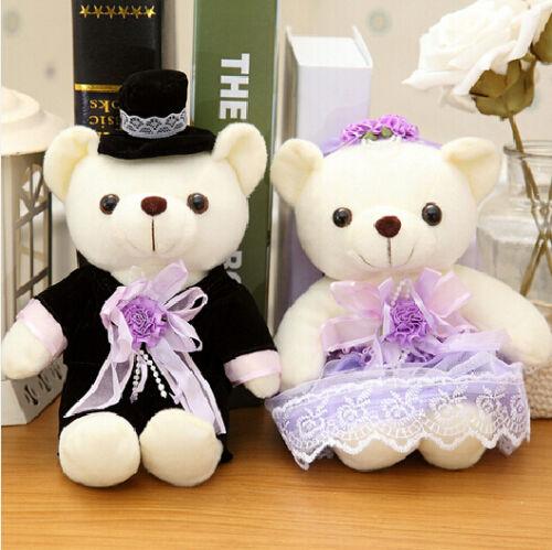 2 pcs stuffed plush purple wedding dress love teddy bear animal gift toy 10/'/'