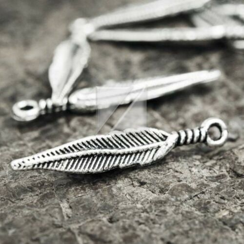 100pcs Charm Pendant Jewelry Finding Antique Tibetan Silver Leaf 29x4.5x2mm BW
