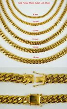 14k 24 in 6/8/10/12/14/16/18mm Gold plated Miami cuban link stainless steel