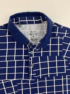 Men-s-Armani-Exchange-A-X-Blue-Geometric-Polo-Shirt-Size-Medium