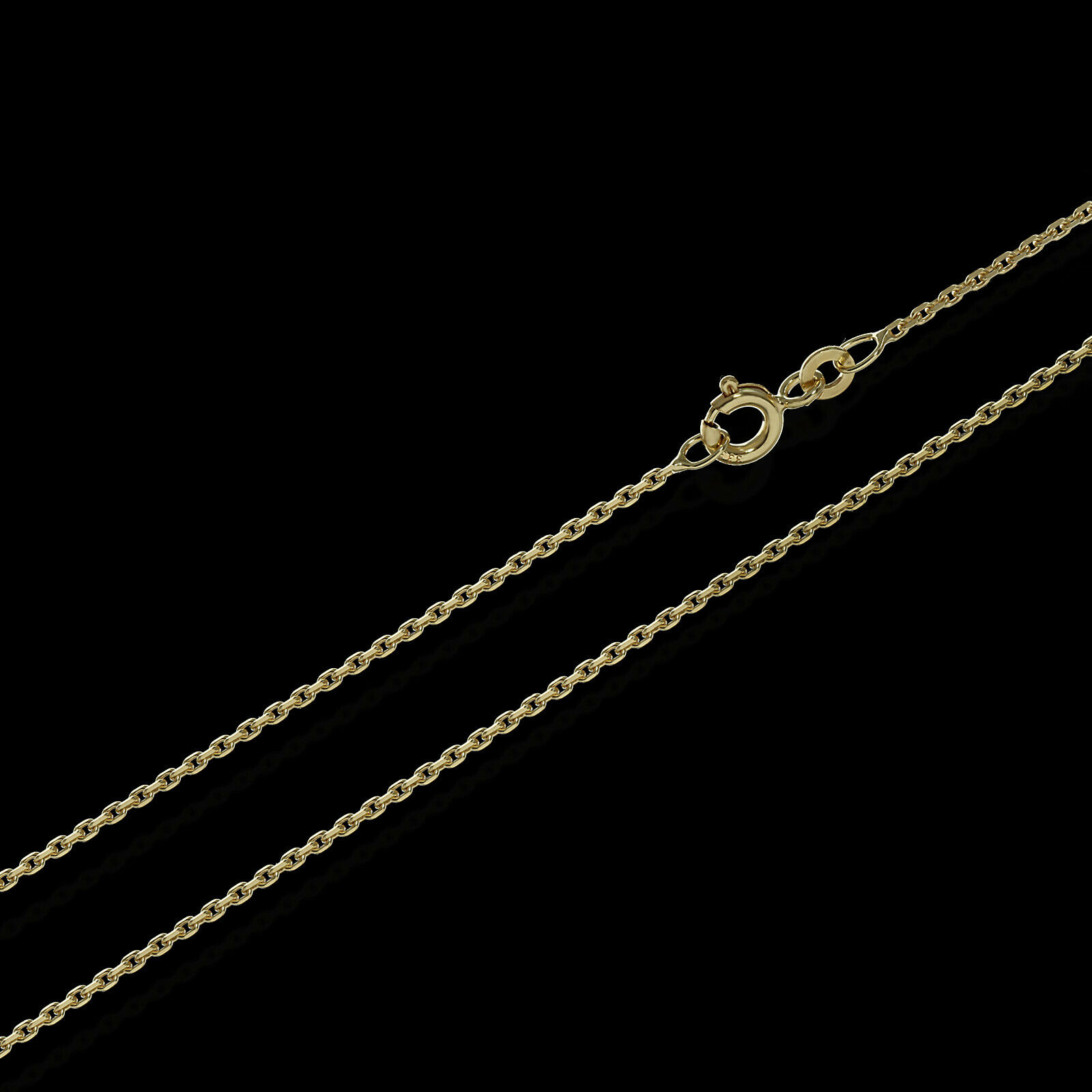 45cm ANKERKETTE Collier 333er yellow gold Kette Diamantiert 1,3mm 2,2g 3701