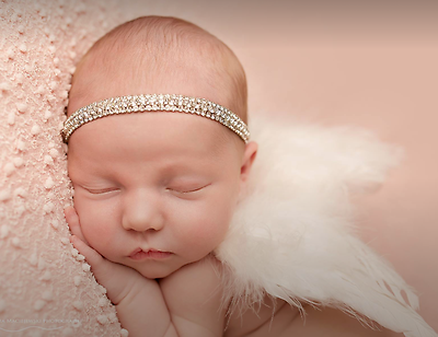 Baby GIRL NEWBORN Fascia per capelli Hairband Blink strass brillanti foto di scena