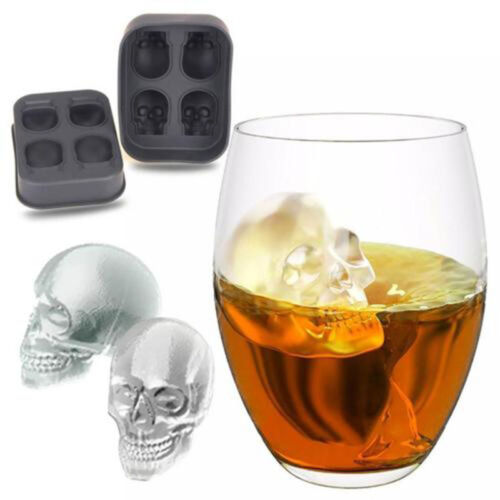 3D Ice Cube Mold Skull Shape Maker Bar Party Silicone Trays Chocolate Mould Gift