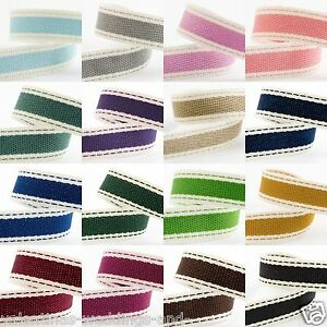 15mm-Saddle-Stitch-Cotton-Twill-Craft-Ribbon-Shabby-Chic-Wedding-17-Colours