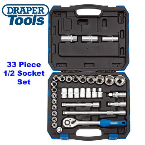 Draper 16363 1//2in Sq Dr MM//AF Combined Socket Set 33 Piece