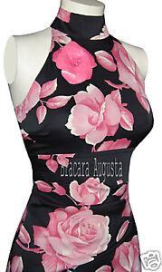 5c42dc26b Image is loading KAREN-MILLEN-CORSET-ORIENTAL-BLACK-PINK-ROSES-DRESS-