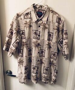 Reyn-Spooner-Joe-Kealoha-039-s-Palm-Tree-Print-Hawaiian-Shirt-Mens-Size-XL