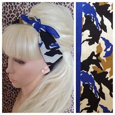 ROYAL BLUE CAMOUFLAGE CAMO PRINT COTTON BANDANA HEAD BAND HAIR NECK SCARF URBAN