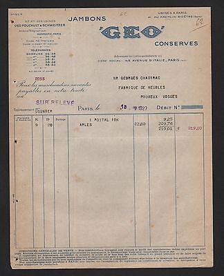 Bescheiden Paris, Rechnung 1927, Jambon Geo Saucissons Salaisons Condiments Relevé