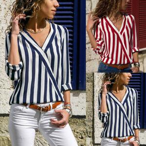 Womens-V-Neck-Blouse-Tops-Striped-Long-Sleeve-Irregular-Work-Office-Tee-Shirt