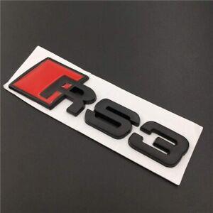 AUDI-A3-Logo-RS3-Noir-Satin-Embleme-Autocollant-Coffre-Side-Fender-Rear-Trunk