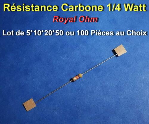 CARBONE 1//4 WATT 68K à 10M  *** *** LOT DE 5*10*20*50 OU 100 RESISTANCES
