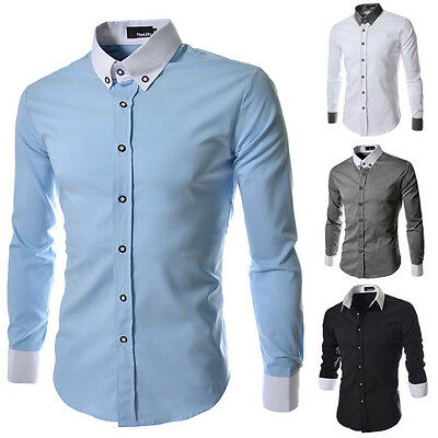 New Stylish Mens Slim Fit Casual Formal Business Shirt Long Sleeve Dress Shirts