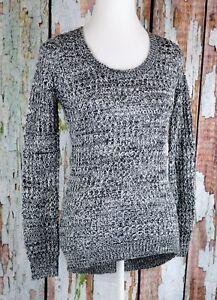 Ultra-Flirt-Women-039-s-Waffle-Knit-V-Neck-Pullover-Sweater-Top-L-S-Marled-Hi-Lo-XS