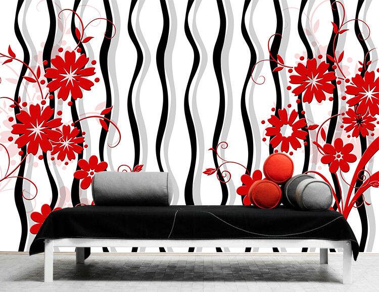 3D Linie Blumen Muster 8093 Tapete Wandgemälde Tapeten Bild Familie DE Jenny