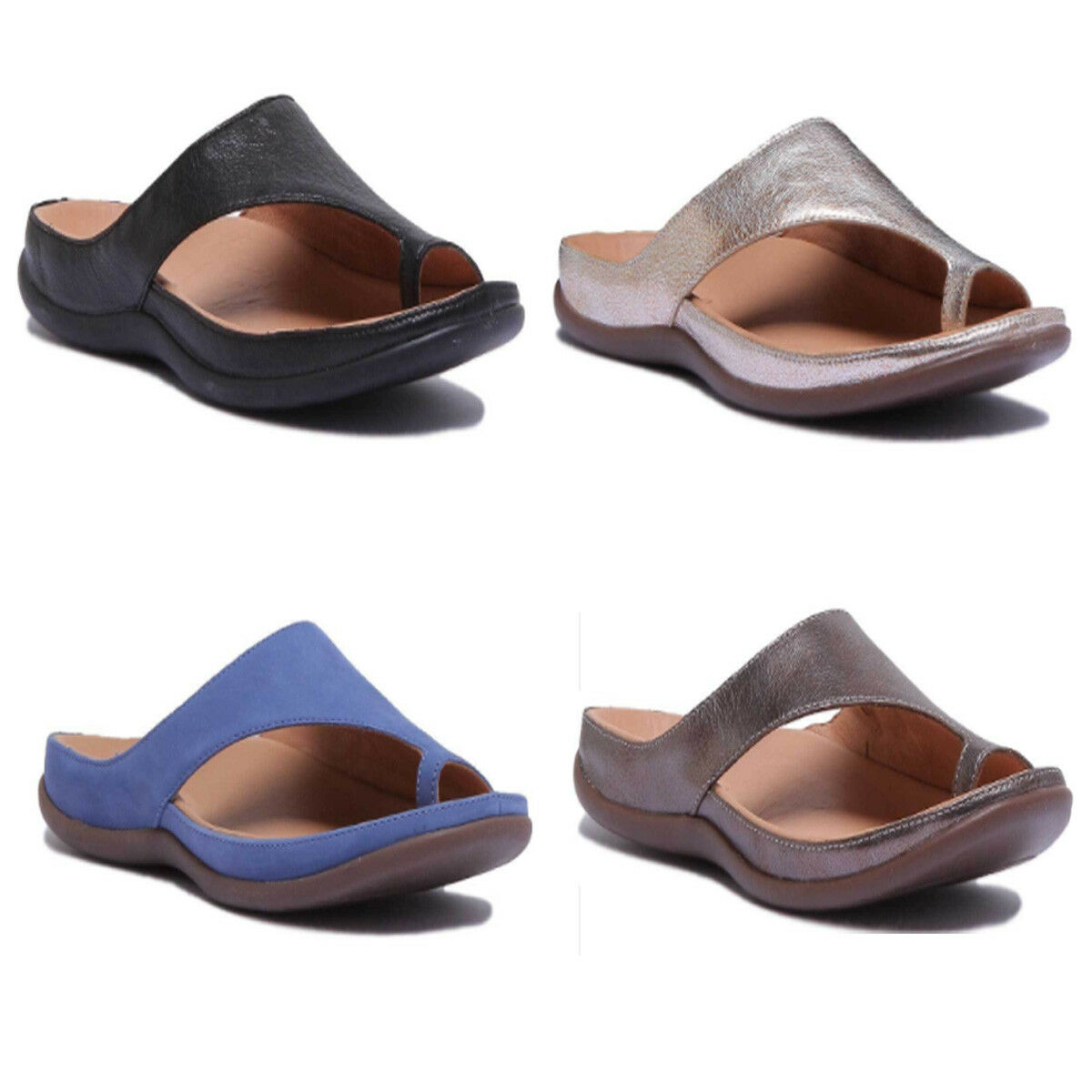 Strive Capri Women Leather Matt Silver Metallic Toe Loop Mule Sandals Size 3 - 8