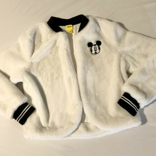 Disney Mickey Mouse Small Faux Fur White Bomber Sw