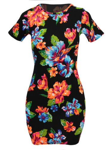 Womens Crepe Stretch Floral Short Sleeve Black Bodycon Party Mini Dress SIze 10