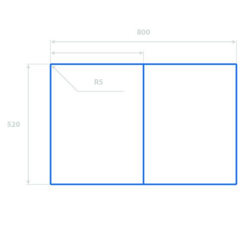 Glas-Herdabdeckplatte Ceranfeldabdeckung 2x40x52 Zweiteilig Kaffeetasse