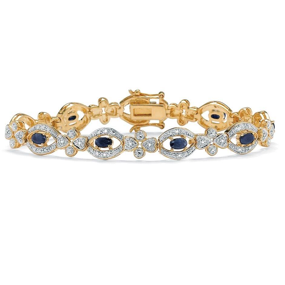 14K YELLOW gold GP MIDNIGHT blueE SAPPHIRE AND DIAMOND ACCENT  BRACELET