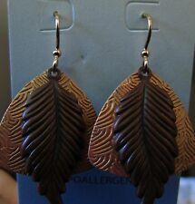 Jody Coyote Earrings JC0391 Sienna Collection gold dangle brown leaf QN325-01